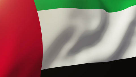 United Arab Emirates flag waving in the wind. Looping sun rises style. Animation Animation