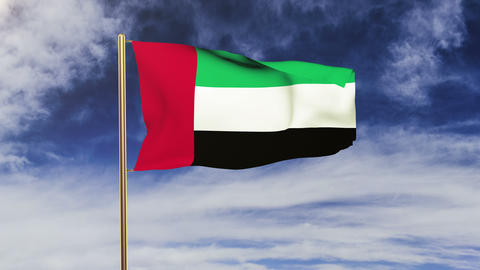 United Arab Emirates flag waving in the wind. Green... Stock Video Footage