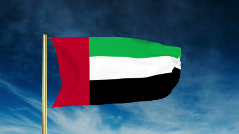 United Arab Emirates flag slider style. Waving in the win... Stock Video Footage