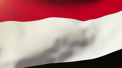 Yemen flag waving in the wind. Looping sun rises style.... Stock Video Footage