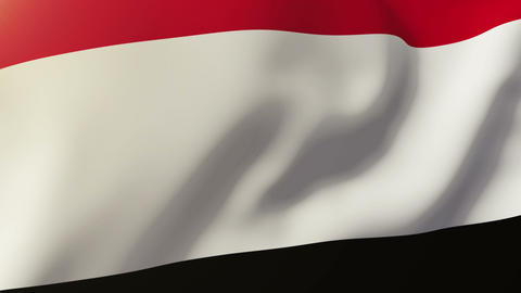 Yemen flag waving in the wind. Looping sun rises style. Animation loop Animation