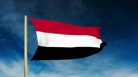 Yemen flag slider style. Waving in the win with cloud background animation Animation