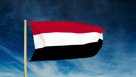 Yemen flag slider style. Waving in the win with cloud... Stock Video Footage
