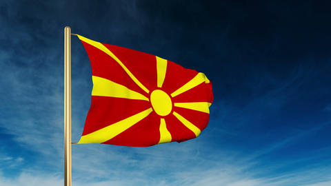 Macedonia flag slider style. Waving in the wind with... Stock Video Footage
