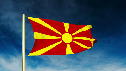 Macedonia flag slider style. Waving in the wind with cloud background animation Animation