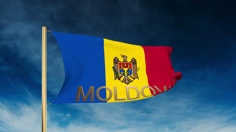 Moldova flag slider style with title. Waving in the wind with cloud background a Animation