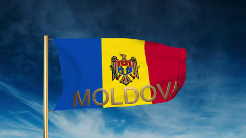 Moldova flag slider style with title. Waving in the wind... Stock Video Footage