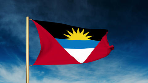 Antigua And Barbuda flag slider style. Waving in the win with cloud background a Animation