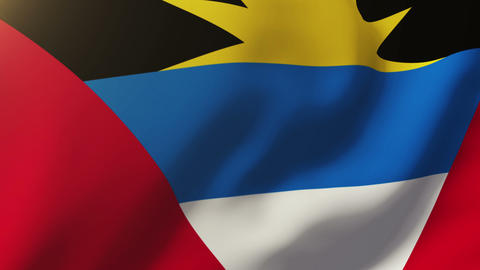 Antigua And Barbuda flag waving in the wind. Looping sun rises style. Animation  Animation