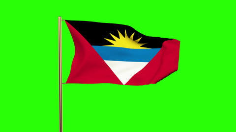 Antigua And Barbuda flag waving in the wind. Green screen, alpha matte. Loopable CG動画