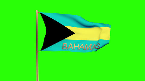 Bahamas flag with title waving in the wind. Looping sun rises style. Animation l Animation