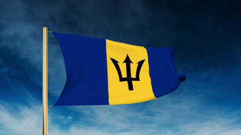 Barbados flag slider style. Waving in the win with cloud background animation Animation