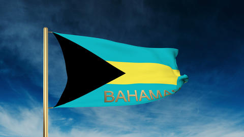 Bahamas flag slider style with title. Waving in the wind with cloud background a Animation