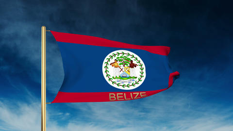 Belize flag slider style with title. Waving in the wind with cloud background an CG動画