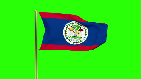Belize flag waving in the wind. Green screen, alpha matte. Loopable animation Animation