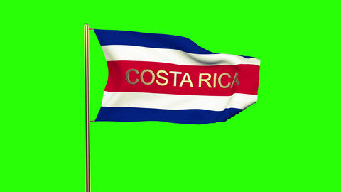 Costa Rica flag with title waving in the wind. Looping sun rises style. Animatio Animation