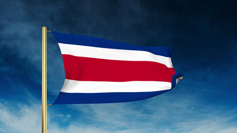 Costa Rica flag slider style. Waving in the win with cloud background animation Animation