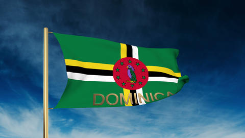 Dominica flag slider style with title. Waving in the wind with cloud background  Animation