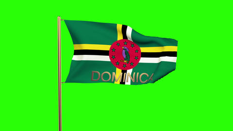 Dominica flag with title waving in the wind. Looping sun rises style. Animation  Animation