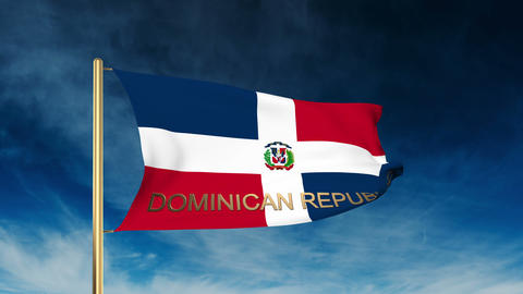 Dominican Republic flag slider style with title. Waving in the wind with cloud b Animation