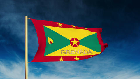 Grenada flag slider style with title. Waving in the wind with cloud background a Animation