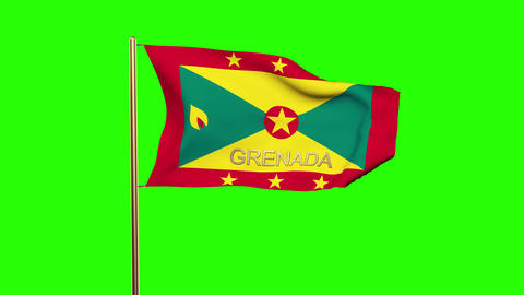 Grenada flag with title waving in the wind. Looping sun rises style. Animation l Animation