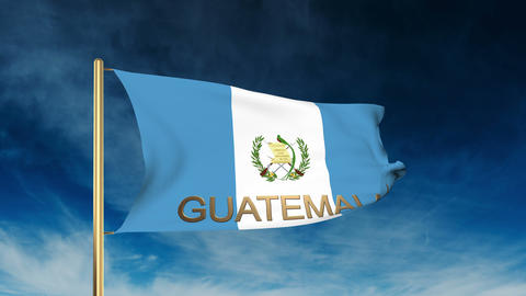 Guatemala flag slider style with title. Waving in the wind with cloud background Animation
