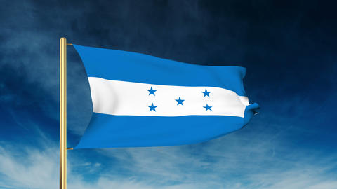 Honduras flag slider style. Waving in the win with cloud background animation Animation