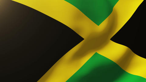 Jamaica flag waving in the wind. Looping sun rises style. Animation loop Animation