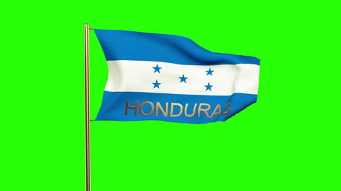 Honduras flag with title waving in the wind. Looping sun rises style. Animation  Animation