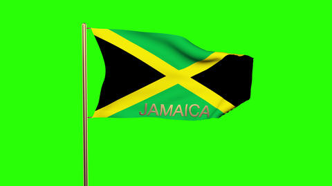 Jamaica flag with title waving in the wind. Looping sun rises style. Animation l Animation