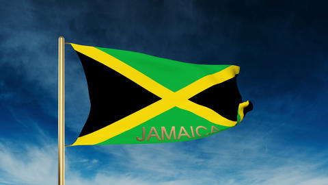 Jamaica flag slider style with title. Waving in the wind with cloud background a Animation