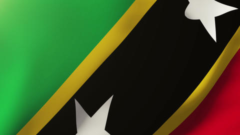 Saint Kitts And Nevis flag waving in the wind. Looping sun rises style. Animatio Animation