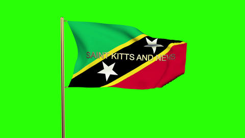 Saint Kitts And Nevis flag with title waving in the wind. Looping sun rises styl Animation