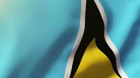 Saint Lucia flag waving in the wind. Looping sun rises style. Animation loop Animation