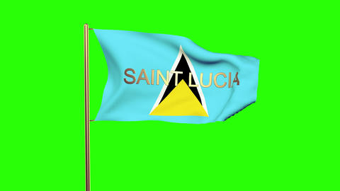 Saint Lucia flag with title waving in the wind. Looping sun rises style. Animati Animation