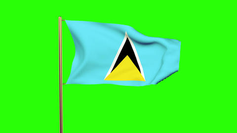 Saint Lucia flag waving in the wind. Green screen, alpha matte. Loopable animati Animation