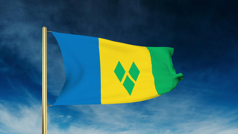 Saint Vincent and the Grenadines flag slider style. Waving in the win with cloud Animation