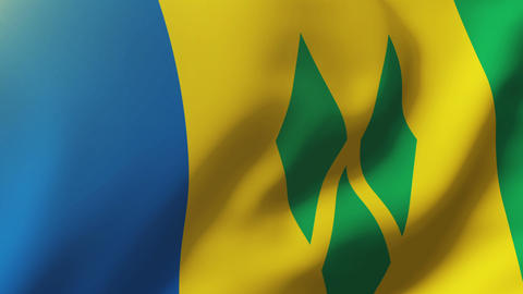 Saint Vincent and the Grenadines flag waving in the wind. Looping sun rises styl Animation