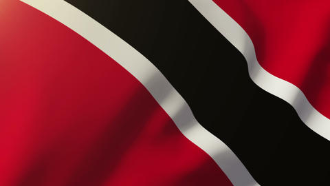 Trinidad and Tobago flag waving in the wind. Looping sun rises style. Animation  Animation