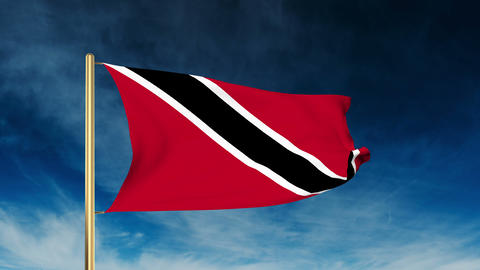 Trinidad and Tobago flag slider style. Waving in the win with cloud background a Animation