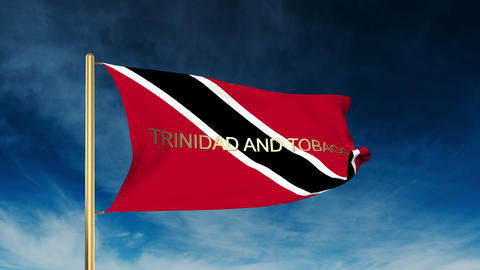 Trinidad and Tobago flag slider style with title. Waving in the wind with cloud  Animation