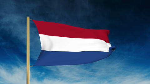 Netherlands flag slider style. Waving in the wind with cloud background animatio Animation