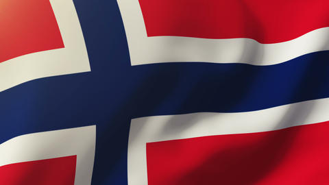 Norway flag waving in the wind. Looping sun rises style. Animation loop Animation