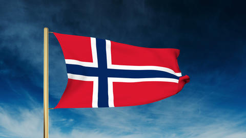 Norway Flag Slider Style. Waving In The Wind With Cloud Background Animation stock footage