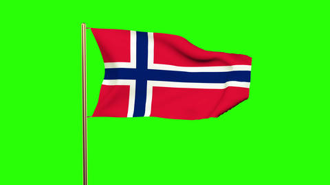 Norway flag waving in the wind. Looping sun rises style. Animation loop. Green s Animation