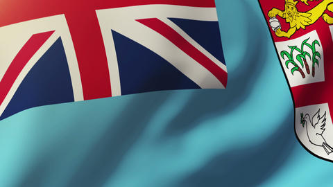 Fiji flag waving in the wind. Looping sun rises style. Animation loop Animation