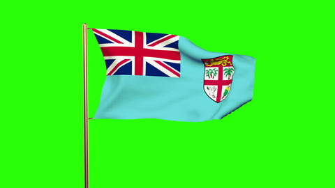 Fiji flag waving in the wind. Green screen, alpha matte. Loopable animation Animation