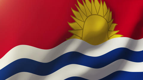 Kiribati flag waving in the wind. Looping sun rises style. Animation loop Animation