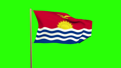 Kiribati flag waving in the wind. Green screen, alpha matte. Loopable animation Animation